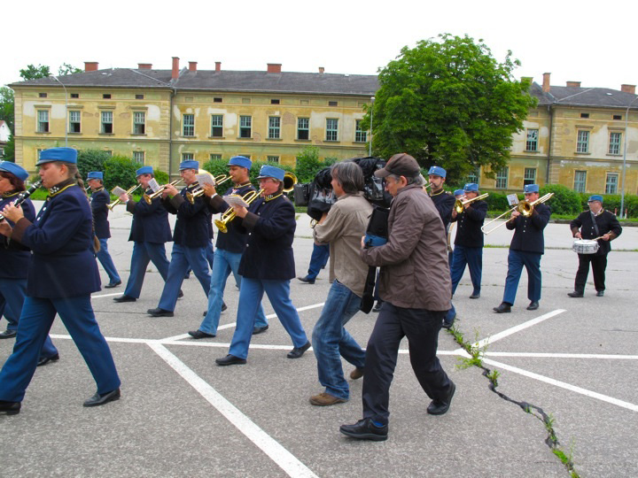 The military band that appears in the Mahler program, outside the historic barracks in Klagenfurt, Austria