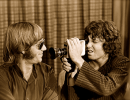 Manzarek (left) and Morrison see lens to lens