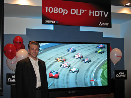 Doug Darrow, Texas Instruments Business Manager For DLP Brand And Marketing  And DLP Products, Next To The Mitsubishi WD 73927 73 Inch 1080p DLP RPTV.