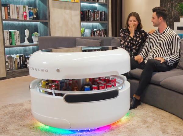 Space-Age Coffee Table Has Built-in Fridge, Speakers