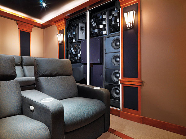 home theater acoustic design. This grouping of in wall speakers and acoustic treatments  Acoustics 101 Sound Vision