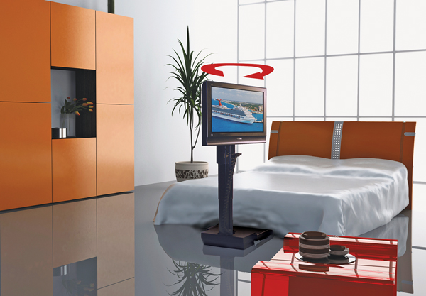 Stylish mounts and lifts for thin hdtvs sound vision for Motorized swing arm tv mount