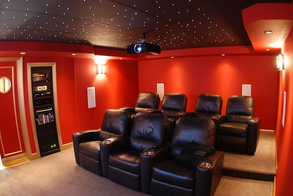 Modern interior movie room paint color Home theatre room design ideas in india